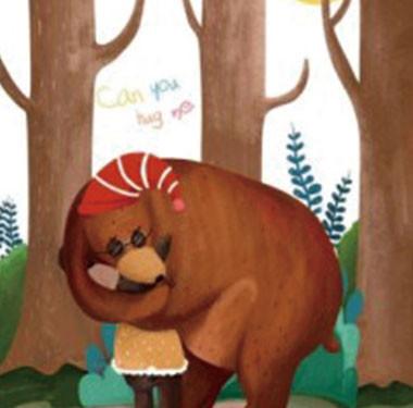 """儿童教育绘画""""圣诞节中的熊父子""""插画设计"""