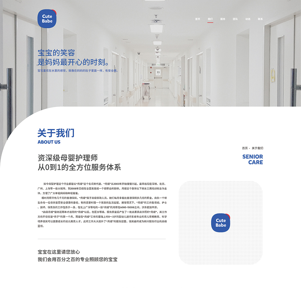 服务行业官方网站-母婴护理网站设计(图4)
